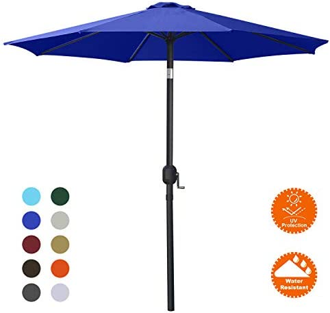 MASTERCANOPY Patio Umbrella Outdoor Fe-Al Market Table Umbrella with 8 Sturdy Ribs 10FT, Blue
