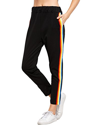 - Romwe Women's Casual Athletic Rainbow Stripe Sweatpants Yoga Elastic Mid Waist Jogger Track Pants Black M
