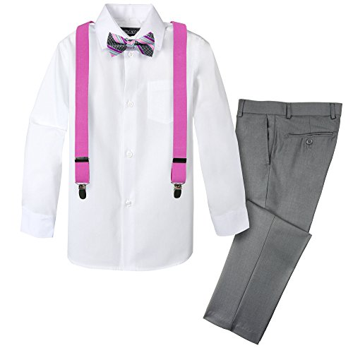 Spring Notion Boys' 4-Piece Patterned Dress up Pants Set 6 - Kids Apparel Fuchsia Little