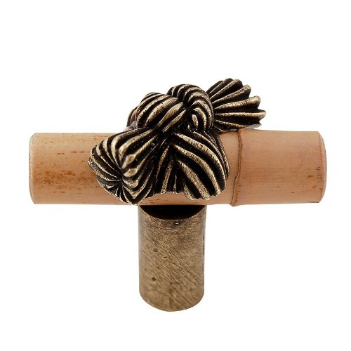 Vicenza Designs K1128 Palmaria Bamboo Knot Knob, Small, Antique Brass