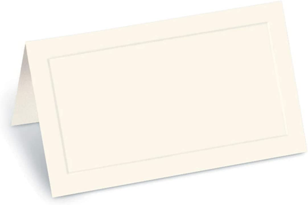 PaperDirect Cream Dignity Embossed 38lb Cover Stock Folded Place Cards, Micro-Perforated, 2