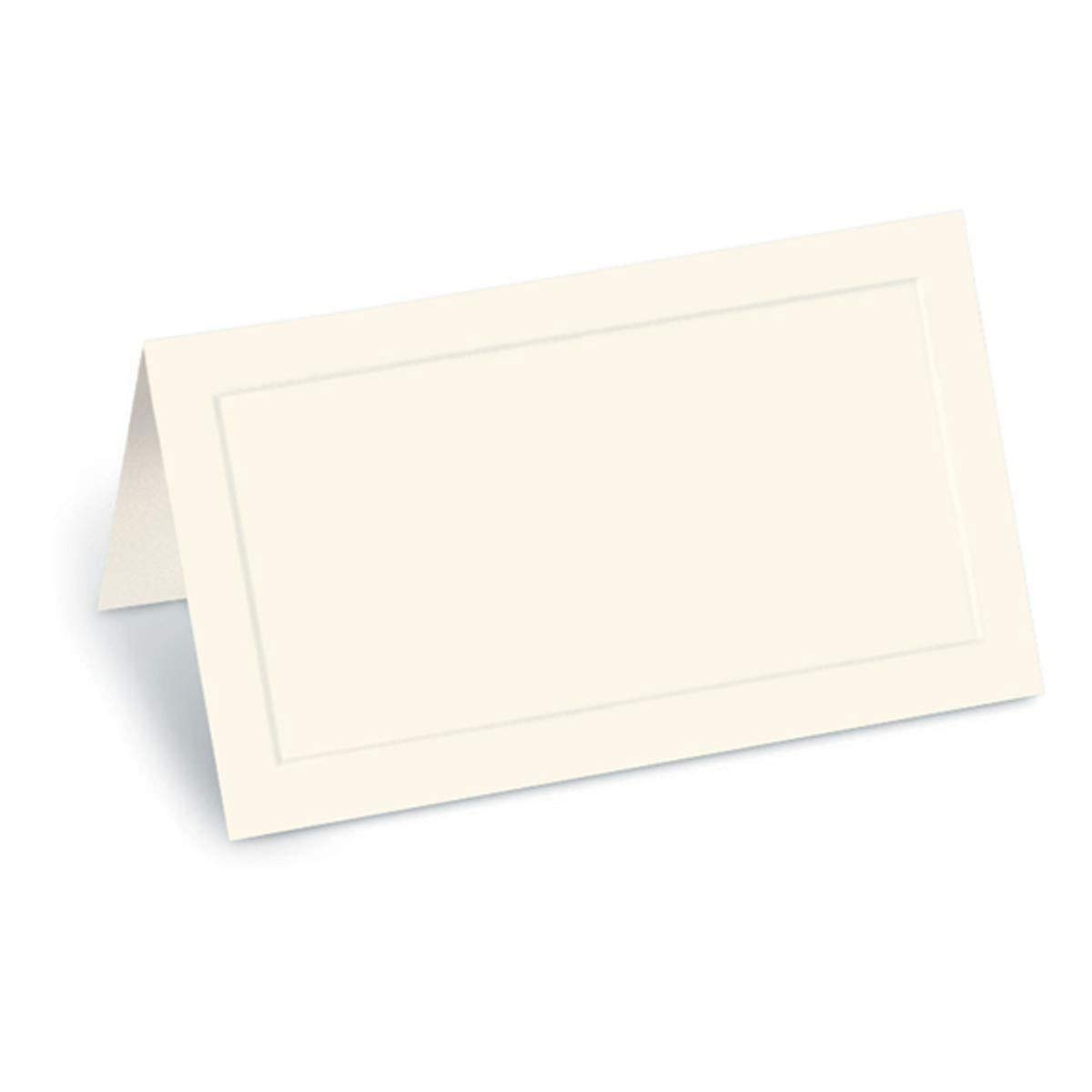 PaperDirect Cream Dignity Embossed 38lb Cover Stock Folded Place Cards, Micro-Perforated, 2'' x 3 1/2'', 400/pack, Laser and Inkjet Compatible by PaperDirect