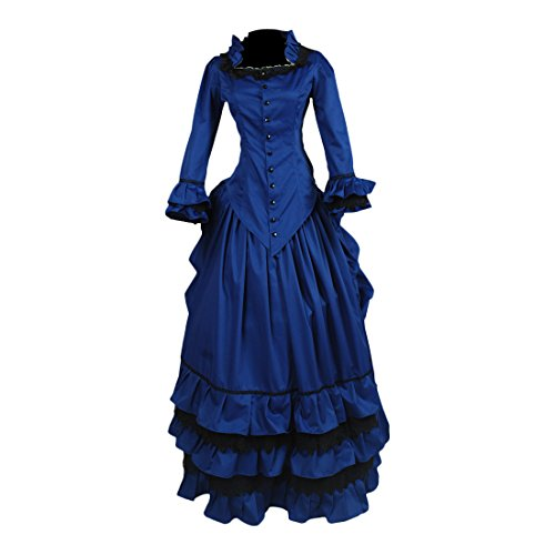 Colonial Ball Gown Costumes (Partiss Womens Royal Blue Victorian Gothic Prom Cocktail Party Ball Gown Dress,XL,Royalblue)