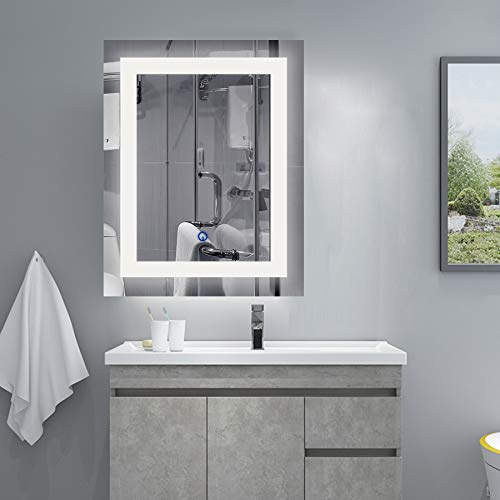 CO-Z Wall Mounted LED Mirrors, Modern Lighted LED Bathroom Mirror, Dimmable Rectangle -