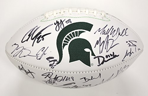 Michigan State Spartans 2015 Big 10 Champions Team Signed Autographed White Panel Logo Football Connor Cook