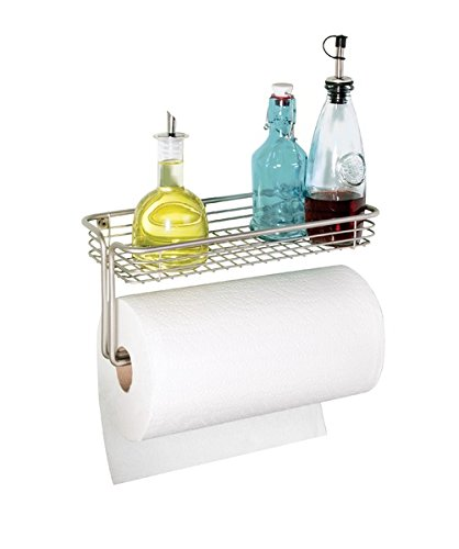 mDesign Wall Mount Paper Towel Holder with Shelf for Kitchen, Laundry and Garage - Satin Paper Towel Shelf