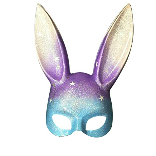 LUOEM Easter Bunny Mask Half Face Rabbit Mask Masquerade Mask Costume Accessory (Rainbow Glitter) -