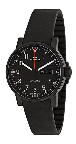 Fortis Spacematic Pilot Professional Black Dial Black Rubber Mens Watch 623.18.71 Si01