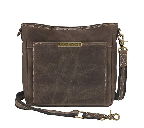 GTM Buffalo Leather Cross Body with Front Flap Organizer