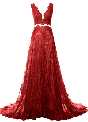 Formal Prom Straps Women V Dress Burgundy 2 Long Lace Neck MACloth Piece Evening Gown xZwaxq