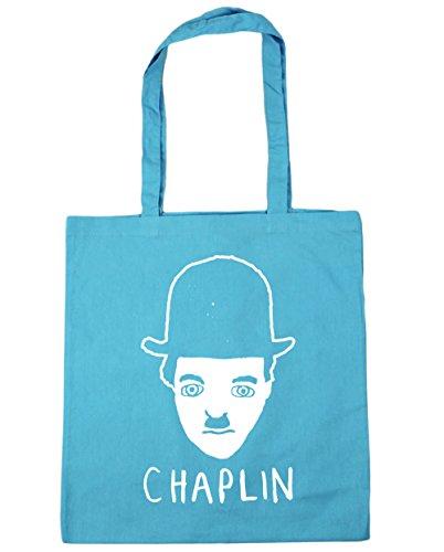 HippoWarehouse Chaplin Dibujo Bolso de Playa Bolsa Compra Con Asas para gimnasio 42cm x 38cm 10 litros capacidad Azul Celeste