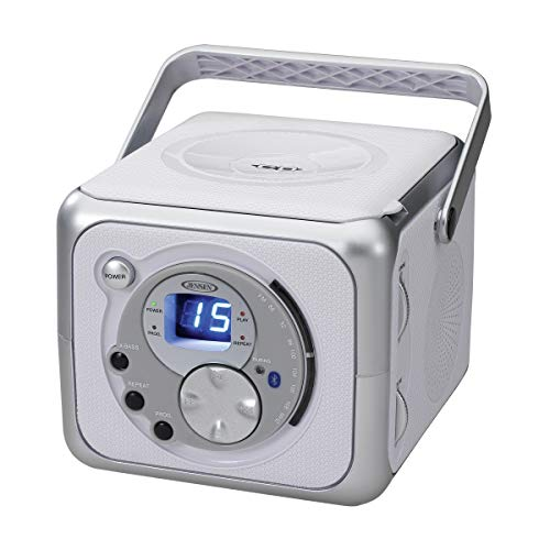 Jensen CD-555 White/Silver CD Bluetooth Boombox Portable Blu