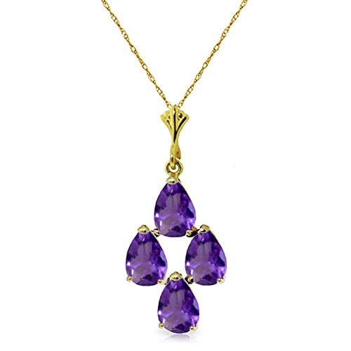 ALARRI 1.5 Carat 14K Solid Gold Sense And Sensations Amethyst Necklace with 18 Inch Chain Length 1.5 Ct Amethyst Pendant
