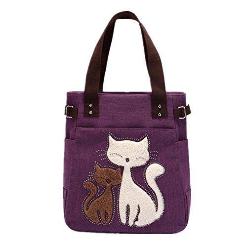 YZSKY Women Canvas Handbag Cartoon Cat Big Tote Bag (Purple)