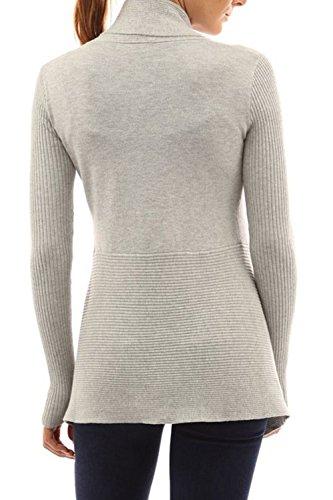 La Mujer Otoño Casual Manga Larga Cuello De Chal Frente Abierto Outcoats Irregular Knit Cardigan Sweater Grey
