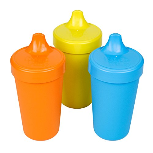 Re-Play Made in The USA 3pk No Spill Sippy Cups for Baby, Toddler, and Child Feeding - Orange, Yellow, Sky Blue (Spring)