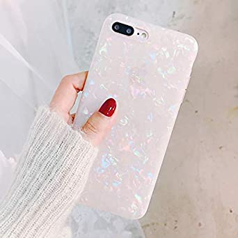 Seashell Marble Pattern Design Shockproof Case Soft Silicone TPU Gel Skin Bumper Cover Ultra Thin Slim Fit Anti-Scratch Girly Back Case Cherry LLZ.COQUE For iPhone 7 Plus iPhone 8 Plus Case