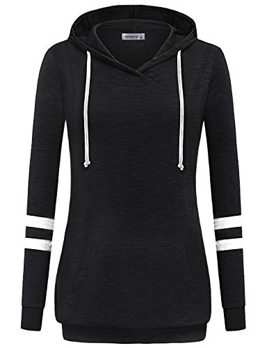 MOQIVGI Sweatshirts for Women,Long Sleeve Light Weight Drawstring Gym Hoody Tops Stylish Unique Regular Fit Casual Wear Baggy Beach Pullover Tunic with Pocket Banded Bottom Blouse Shirts Black Large