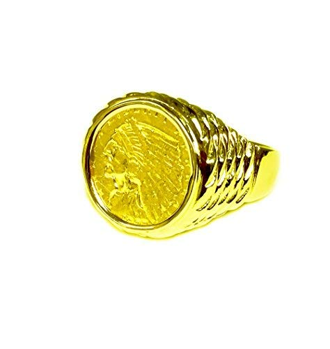 (TEX Genuine Indian Head 2 1/2 Dollar Gold Coin - 14K Solid Yellow Gold Mens Coin Ring)