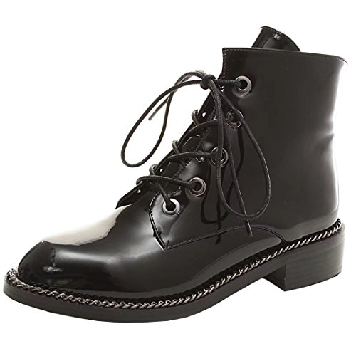 Aiyoumei Kvinners Patent Lær Blonder-up Booties Rund Tå Lav Hæl Vinter Ankel Boots Black