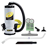 used back pack vacuum - ProTeam Commercial Backpack Vacuum, QuietPro BP Vacuum Backpack with HEPA Media Filtration and Xover Multi-Surface Telescoping Wand Tool Kit, 6 Quart, Corded