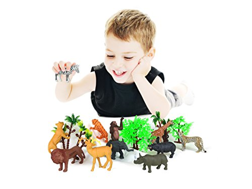 Xploretoys Animal Figure,3-4 Inch Jungle Animal and Trees Toy Set(18 Piece), Toys Realistic Wild Vinyl Animal for Kids ,Plastic Animal Party Favors Learning Forest Wild Animals Toys Playset