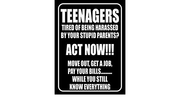 Amazon Com Paboe Teenagers Tired Of Being Harassed By Your Stupid Parents Retro Vintage 8x12 Tin Metal Sign Wall Decor Home Decor Home Kitchen