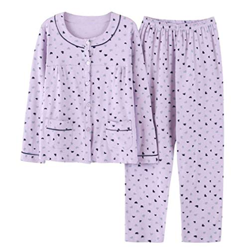 Conjunto Clásicos L Pijamas Modernas algodón Piezas Dos Para F Larga Mujer Puro Pijama Otoño Manga De Algodón Casual qHpx1Aq