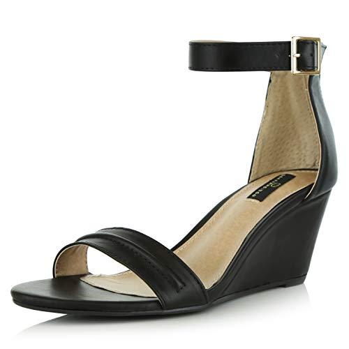 - DailyShoes Women's Summer Fashion Design Ankle Strap Buckle Low Wedge Platform Heel Sandals Shoes, Black PU, 8.5 B(M) US