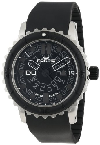 Fortis Men's 675.10.81 K B-47 Big Black Automatic Rotating Bezel Rubber Watch