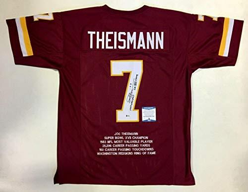 Joe Theismann Signed Jersey - PRO STYLE STAT w 2 INSC. & BECKETT COA - Beckett Authentication - Autographed NFL Jerseys (Theismann Jersey)