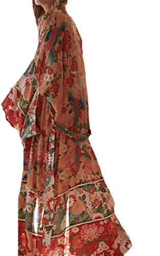 MEILING Womens Chiffon Bathing Suit Bikini Swimsuit Cover up Swimwear Beach Dress Long Kimono Cardigan Jacket Robe