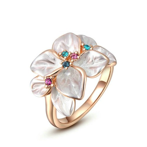 Costumes Jewellery Cocktail Rings (Yoursfs Gold Plated Statement Rings White Flower Women Fashion Jewelry Colorful Crystal Cocktail Ring Size 8 Gift)