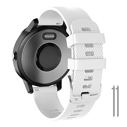 ANCOOL Compatible with Garmin Vivoactive 3 Band,20mm Soft Silicone Band Quick Release Replacement Strap for Garmin Vivoactive 3/Forerunner 245/645 Music/Samsung Galaxy 42mm /Samsung Gear Sport -White