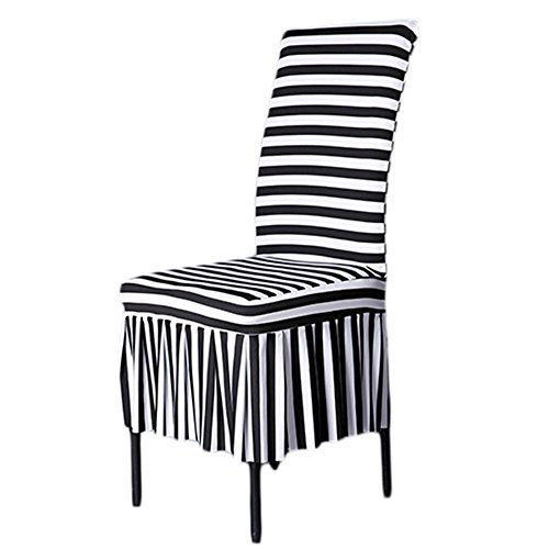 SHZONS™Classic Chair Slipcovers Stretch Ruffled Dining Chair Covers, Black White Stripes(Style C)