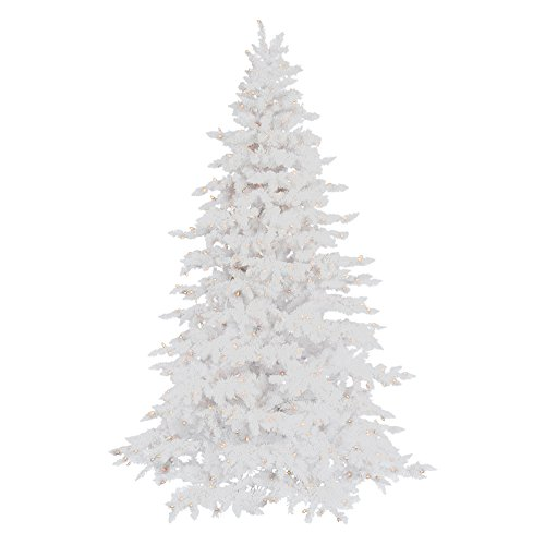 Vickerman 75' Flocked White Spruce Artificial Christmas Tree with 850 Warm White LED Lights