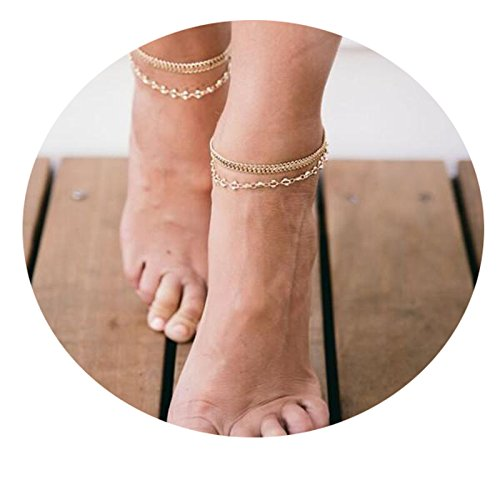 Befettly Women Gold Anklet Delicate Handmade 14k Gold Plated Double Layered Beads Boho Cute Summer Ankle Bracelet Dainty Tassels Beach Foot Chain Ank-layer tassel-GD -