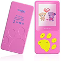 wiwoo B4 8GB Portable Cute Cartoon MP3 Player For Kids With Fun Game For Girls, Mini Kids MP4 Music Player With Fm Radio,Built-in Microphone,Up to 64GB Expandable,Easy to Use (pink)