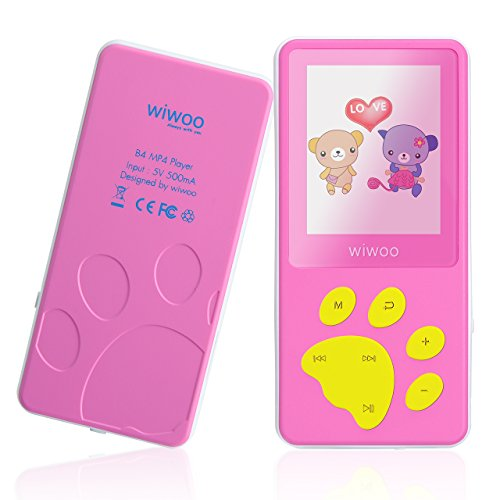 wiwoo B4 8GB Portable Cute Cartoon MP3 Player For Kids With Fun Game For Girls, Mini Kids MP4 Music Player With Fm Radio ,Built-in Microphone ,Up to 128GB Micro SD Card Expandable,Easy to Use (Mp3 Mp4 Video Game)