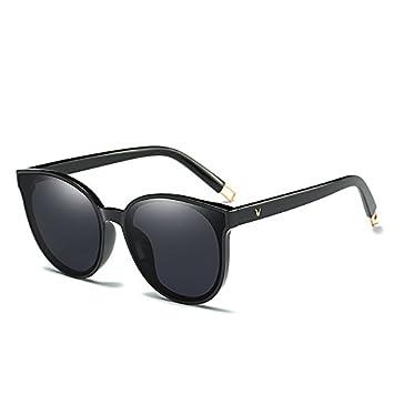 cdb2d24a7d QiHorr(TM) Fashion Women Colour Luxury Flat Top Cat Eye Sunglasses Elegant  oculos de sol men Twin Beam oversized Sun glasses  Black Black
