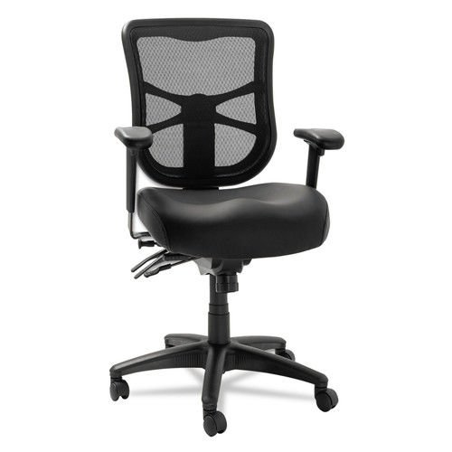 Alera EL4215 Elusion Series Mesh Mid-Back Multifunction Chair, Black Leather Review