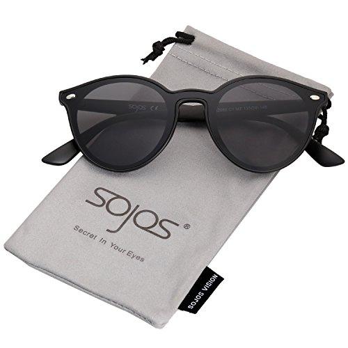 SOJOS Round Horn Rimmed Keyhole Nose Bridge Sunglasses SJ2060 with Matte Black Frame/Grey Lens -