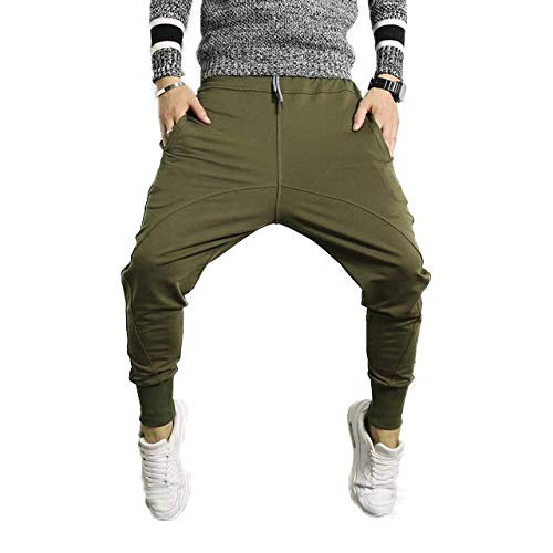 b6abe5881 HOTHANGER Men s Cotton Drop Crotch Calcas Hip Hop Justin Bieber Pants (Green