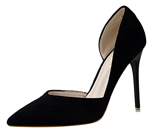 T&Mates Womens Comfort Pointy Slip-on D'Orsay Hollow Out Suede Stiletto High Heel Pumps Shoes (6 B(M) US,Black) ()