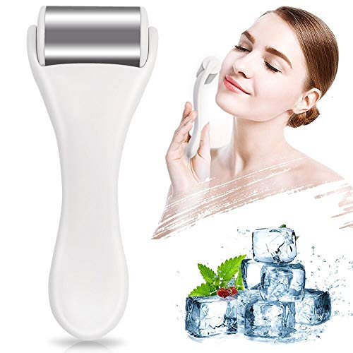 Ice Roller for Face & Eye,Puffiness,Migraine,Pain Relief and Minor Injury,Skin Care Products Stainless Steel Face Massager Ice Roller Massager (White)