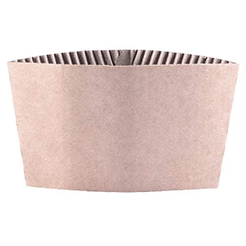 Disposable Corrugated Hot Cup Sleeves Jackets - 500ct Kraft Reusable Holder Cup Sleeve, Protective Heat Insulation Paper Plastic white Cups for coffee tea chocolate Drinks Insulated Fit 12oz 16oz -
