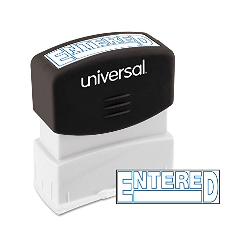 Universal 10052 Message Stamp, Entered, Pre-Inked One-Color, Blue