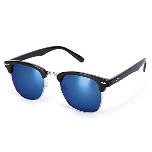 YJMILL New Polarized Sunglasses Retro Pilots Riding Fishing Golf Travel Sports Sunglasses Men And Women 3016 (black-Silver-blue, - De Vue Lunette