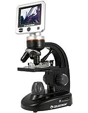 Celestron - Microscopio Digital LCD II - Microscopio biológico con cámara Digital integrada de 5 MP - Escenario mecánico Ajustable - Estuche de Transporte y Tarjeta Micro SD de 1 GB