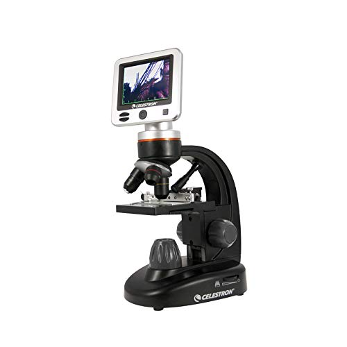 Celestron - LCD Digital Microscope II - Biological Microscope with a Built-In 5MP Digital Camera - Adjustable Mechanical Stage -Carrying Case and 1GB Micro SD Card (Best Digital Microscope For Classroom)